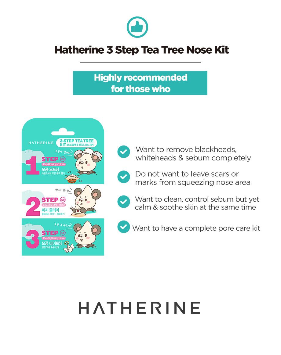Hatherine 3 Step Tea Tree Nose Kit