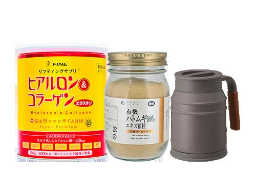 Fine Premium Hyaluron & Collagen 196g + Organic Pearl Coix Extract Powder 170g [FREE] Mosh Mug Cup