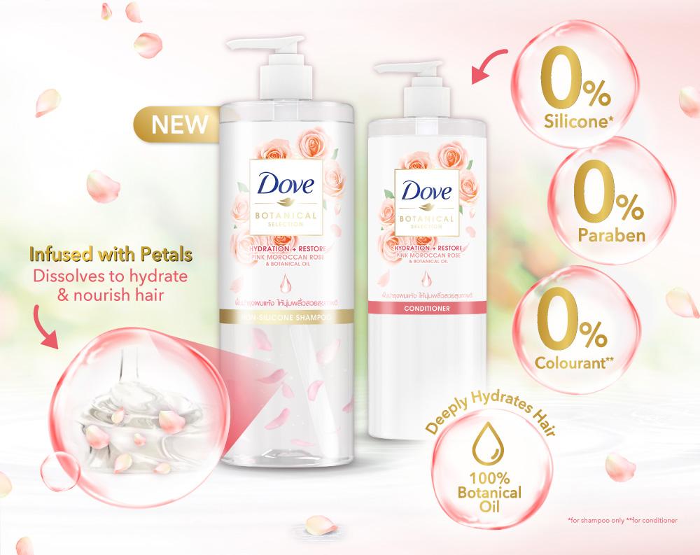 Dove Botanical Pink Rose Range